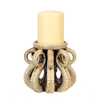 White Octopus Candle Holder