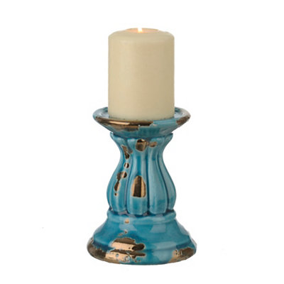 Rustic Metallic Turquoise Candlestick, 6 in.