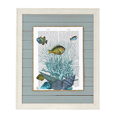 Blue Coastal Newsprint I Framed Art Print