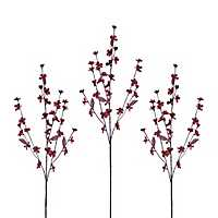 Red Cherry Blossom Stems, Set of 3