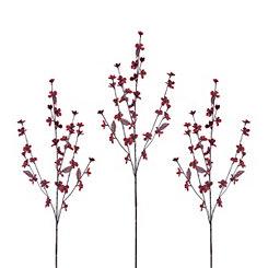 Red Cherry Blossom Stems, Set of 3