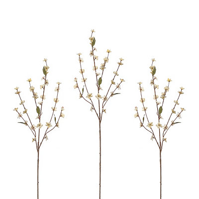 Cream Cherry Blossom Stems, Set of 3