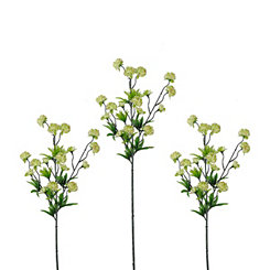 Cream Ball Flower Stems, Set of 3