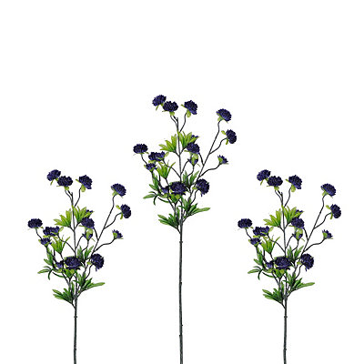 Indigo Ball Flower Stems, Set of 3