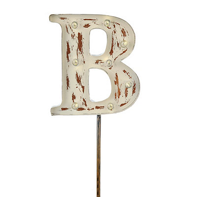 Metal Cream Monogram B Solar Yard Stake