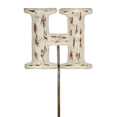 Metal Cream Monogram H Solar Yard Stake