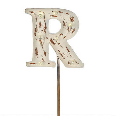 Metal Cream Monogram R Solar Yard Stake