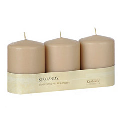 Taupe Pillar Candles, 3pk