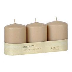 Taupe Pillar Candles, 3pk