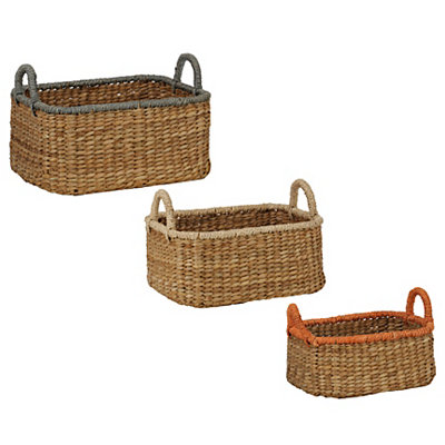Color Tops Woven Baskets, Set of 3