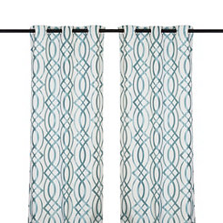 Aqua Avalon Curtain Panel Set, 108 in.