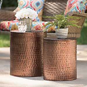 Hammered Copper Garden Stools, Set of 2