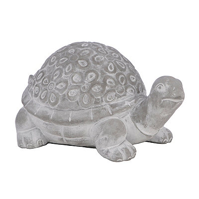 Embossed Floral Turtle Statue