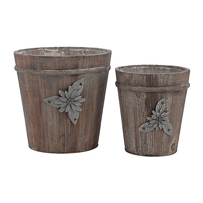 Distressed Natural Wood Planters, Set of 2