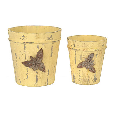 Distressed Yellow Wood Planters, Set of 2