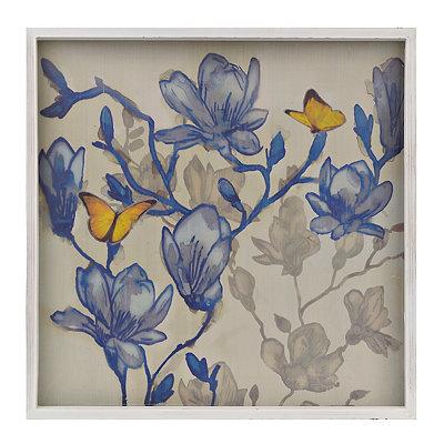 Indigo Floral Butterflies I Framed Art Print