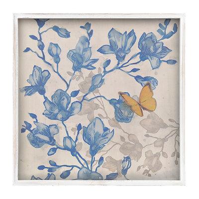 Indigo Floral Butterflies II Framed Art Print