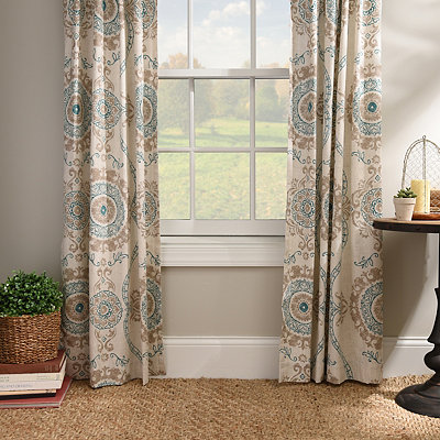 Aqua Loretta Curtain Panel Set, 108 in.