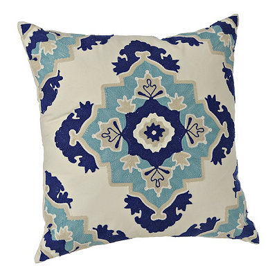 Navy and Aqua Aztec Medallion Pillow