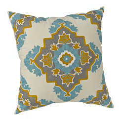Yellow and Gray Aztec Medallion Pillow