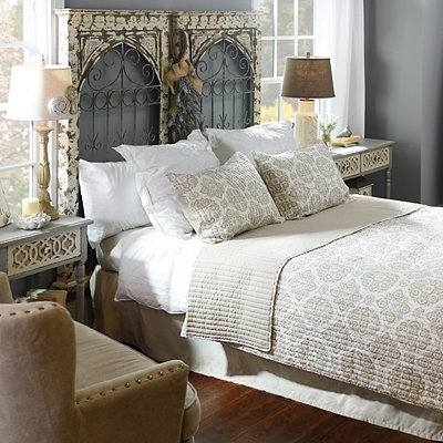 Taupe Medallion Stitch 3-pc. King Quilt Set