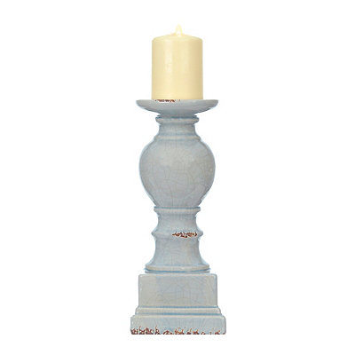 Blue Crackled Glaze Ceramic Candlestick, 12 in.