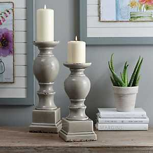 Gray Crackled Glaze Ceramic Candlestick, 12 in.