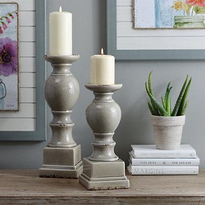 Gray Crackled Glaze Ceramic Candlestick, 12 in.