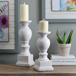 White Crackled Glaze Ceramic Candlestick, 12 in.