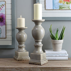 Gray Crackled Glaze Ceramic Candlestick, 15 in.