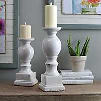 White Crackled Glaze Ceramic Candlestick, 15 in.
