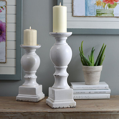 White Crackled Glaze Ceramic Candlestick, 15 in.