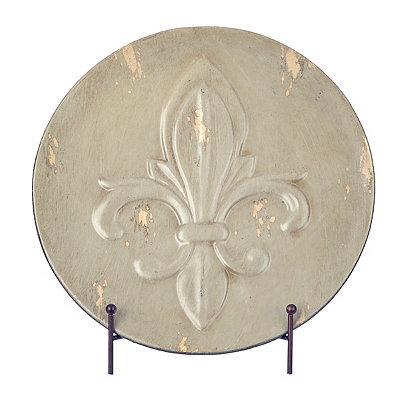 Distressed Tan Fleur-de-lis Decorative Charger