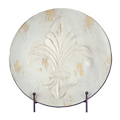 Distressed White Fleur-de-lis Decorative Charger