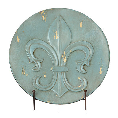 Distressed Blue Fleur-de-lis Decorative Charger