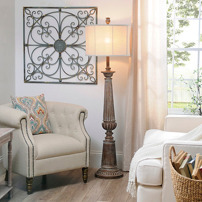Burks Brown Wash Floor Lamp
