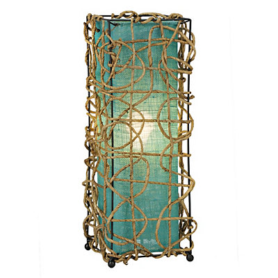 Light Rattan Uplight with Turquoise Shade