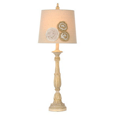 Saint Cloud Burlap Flowers Table Lamp