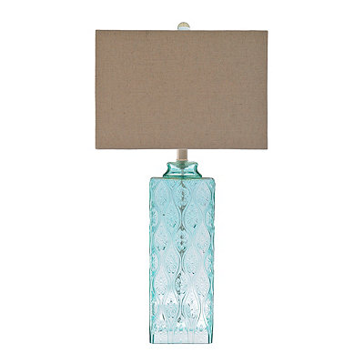 Embossed Aqua Glass Table Lamp