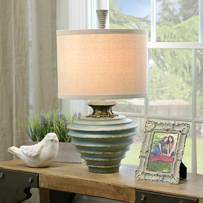 Ribbed Avignon Blue Table Lamp
