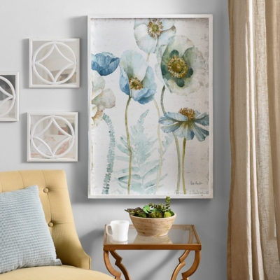 Aqua Poppies Framed Art Print