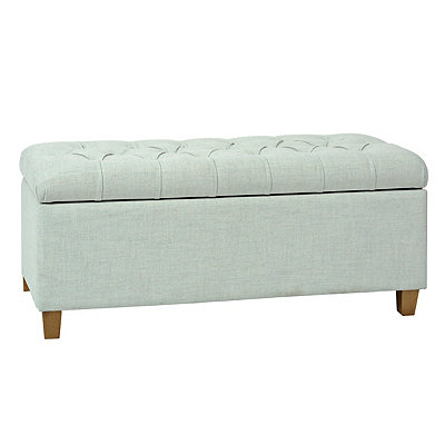 Cora Blue Tufted Storage Bench