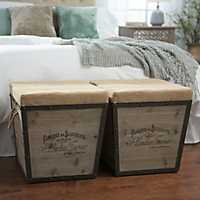 Distressed Wood and Burlap Tapered Ottoman