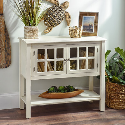 Cream Window Pane Console Table