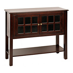 Dark Wood Tone Window Pane Console Table