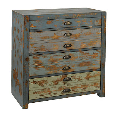 Distressed Blue Ombre 4-Drawer Chest