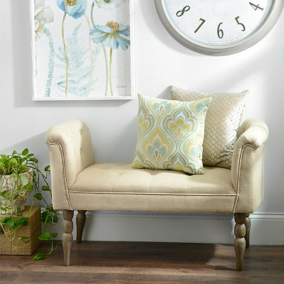 Bethany Linen Button-Tufted Bench