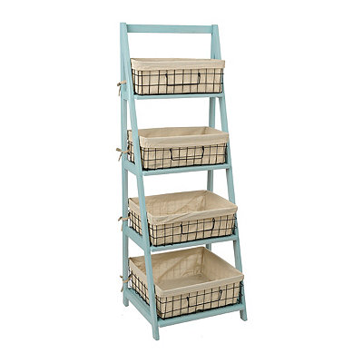 Blue Storage Basket Wooden Ladder Shelf