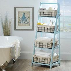 Blue Storage Basket Wooden Ladder Shelf