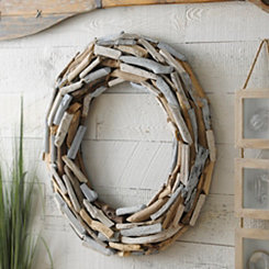 Natural Blue and White Driftwood Wreath